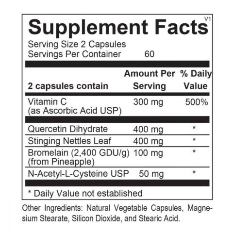 Natural DHIST 120 capsules back label