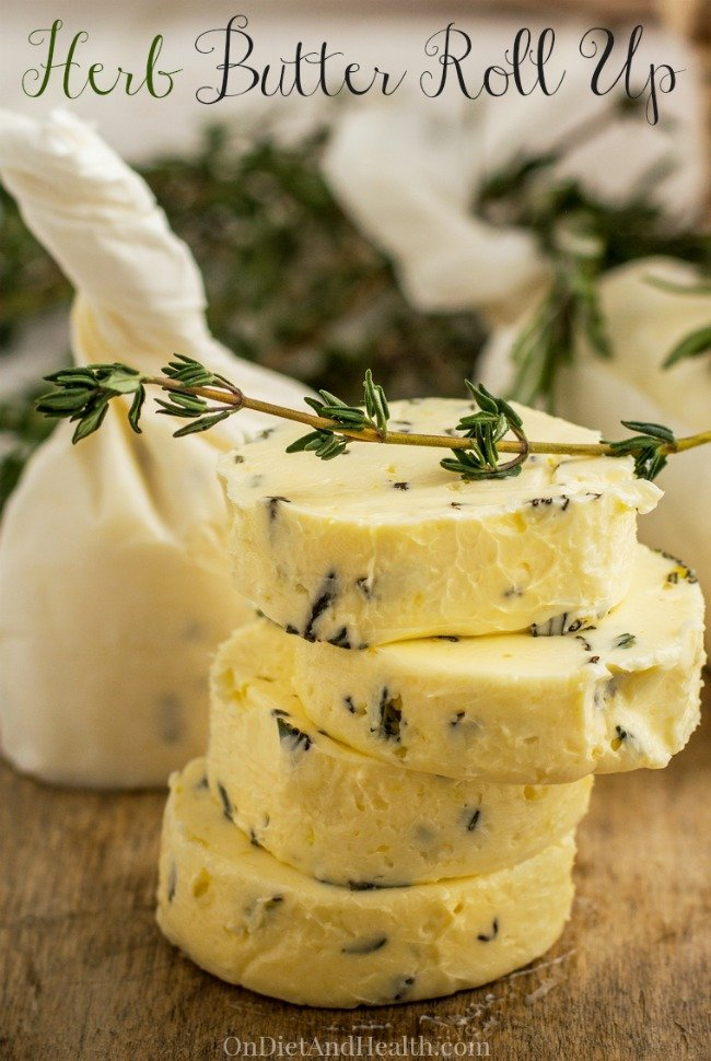 Have you ever made herb butter burgers? It's super-easy and gives you a blast of flavor inside your burger! I make a different batch of my herb butter Roll Up every month, using whatever herbs look fresh. It makes a flavorful condiment to use on just about any food. Check out this basic recipe for the Garlic-Herb Butter I use! // OnDietandHealth.com