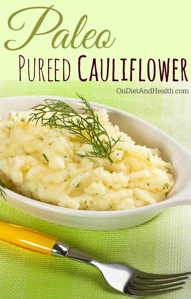 pureed cauliflower in white bowl