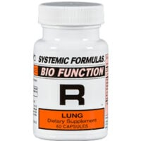 A bottle of Systemic Formulas R Lung herbs for lung problems