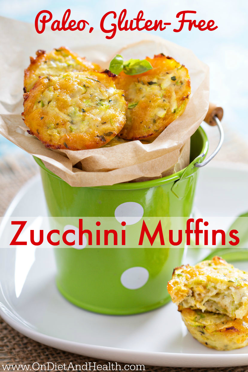 Gluten free Paleo Zucchini Muffins are super easy for anyone to make. Just 5 simple imgredients including the best freshest cinnamon which makes all the difference. Zucchini Muffins are a hearty snack and easy to pack for work, school or road trips. Paleo muffins use almond flour and the best pastured eggs and butter.  //OnDietandHealth.com