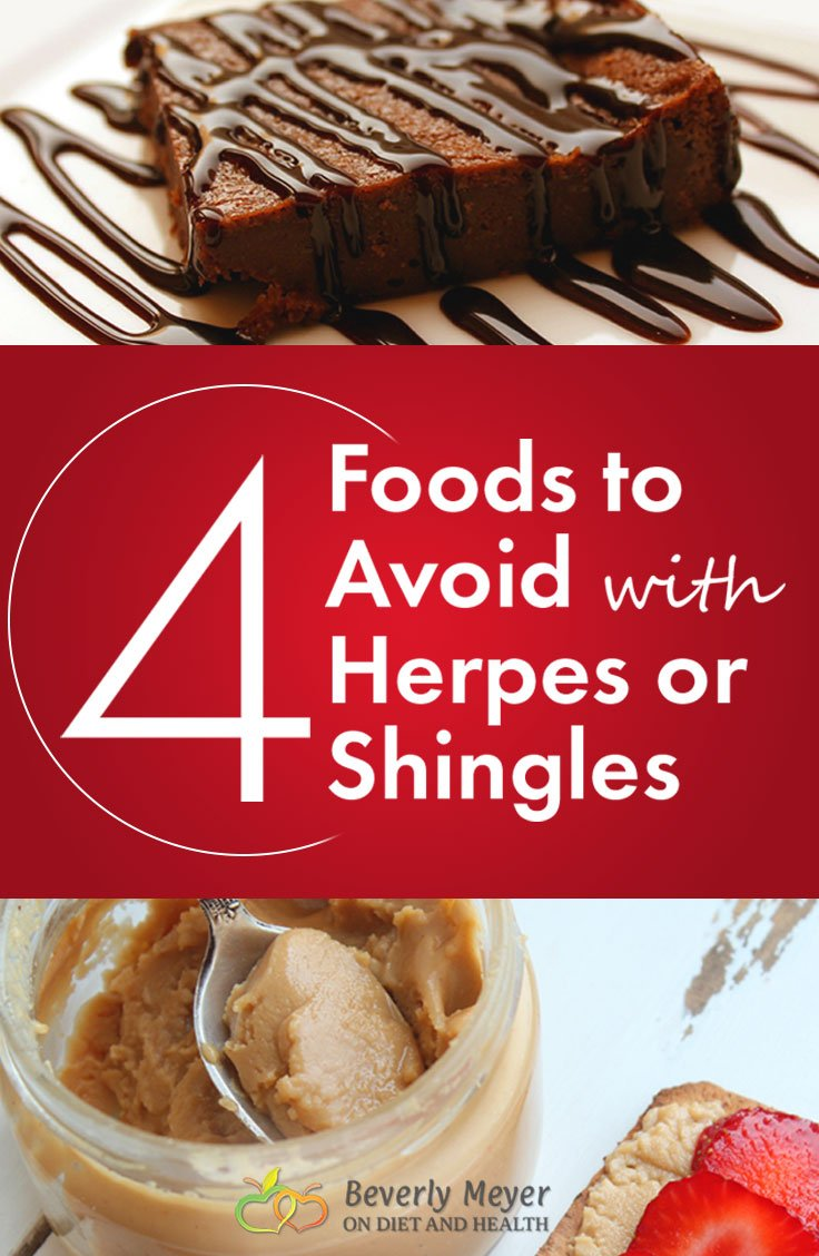 Image of foods to avoid when fighting herpes or shingles includes chocolate brownies and more