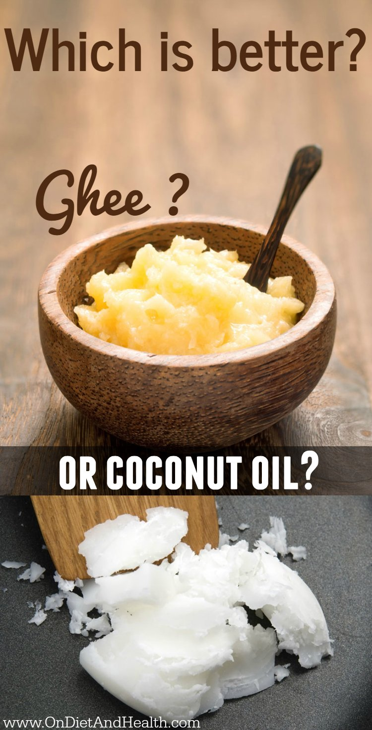 ghee in a wooden bowl and coconut shavings on a table