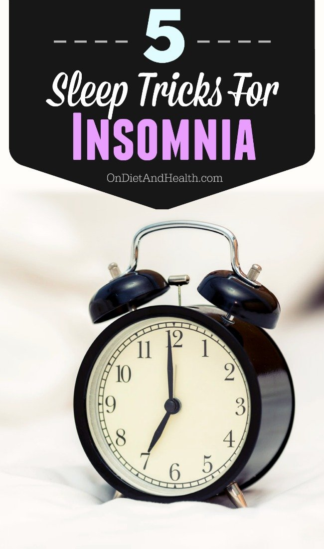 Do you sleep well but wake up too early? Afraid to look at the clock when you wake up? I have that issue too. Here are 5 sleep tricks for insomnia or waking up too early! (#5 is especially helpful if you get up for a minute and go back to sleep!) // OnDietandHealth.com