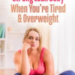 A woman in a pink exercise top looks frustrated and tired instead of exercising