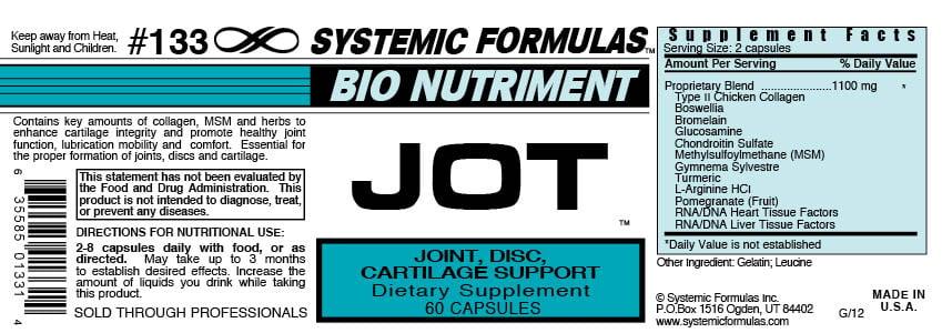 Systemic Formulas JOT back label