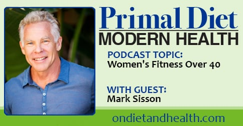 Exercise equipment with Mark Sisson's image for podcast with Beverly Meyer