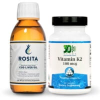 A bottle of Rosita Cod Liver Oil and a bottle of OrthoMolecular Vitamin K2
