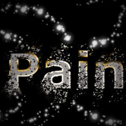 black and white graphic of the word pain for shingles and herpes pain from ondietandhealth.com