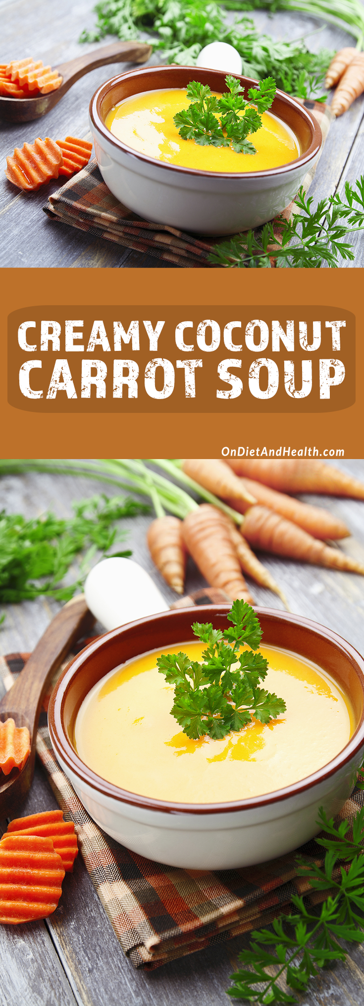 coconut carrot soup in a bowl