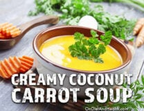 This creamy coconut carrot soup is dairy-free and Paleo and so delicious! // OnDietAndHealth.com