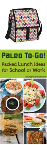 Keep good food portable with these Paleo lunch ideas for school or work! Here are 70 dips, salads, soups, breads, veggies and entrees to make a variety of Paleo packed lunches for school or work. Enjoy! // OnDietAndHealth.com