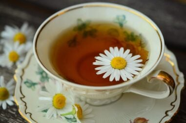 Chamomile flowers make a calming herbal tea for relaxation