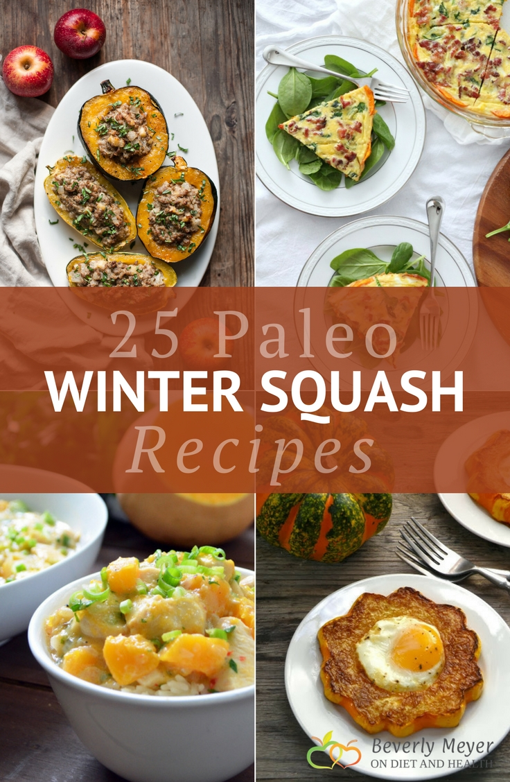 Looking for Paleo winter squash recipes? Here's 25 colorful recipes from your favorite Paleo food bloggers! They highlight the sweetness, bright colors and flavors that all winter squashes have. //OnDietandHealth.com