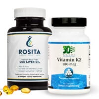 A bottle of Rosita Cod Gelcaps and a bottle of OrthoMolecular K2