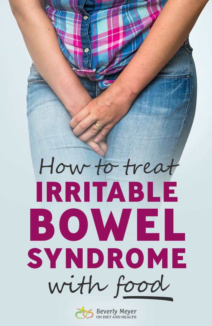 Learn to treat Irritable Bowel Syndrome with food shows a woman in pain holding her belly