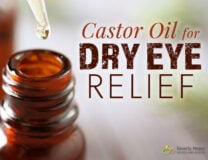 Castor Oil for Dry Eye Relief with drops of Castor Oil for massage around the eyes