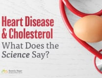 Heart Disease and Cholesterol Science image shows a red stethoscope and an egg