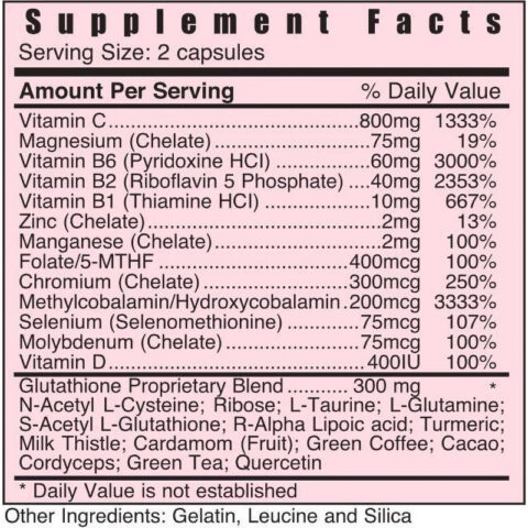 Systemic Formulas GCEL CELLULAR GLUTATHIONE back label