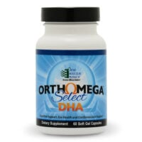 A bottle of OrthoMolecular Omega Select DHA fish oil capsules