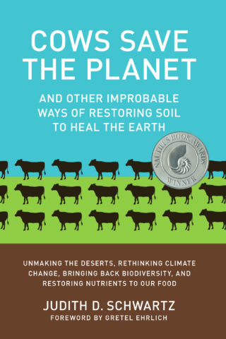 Cover of Cows Save the Planet Book with stylized cows on green background