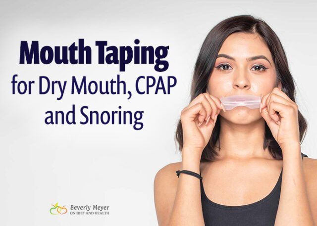 Young woman is showing how to use a mouth taping strip on her lips
