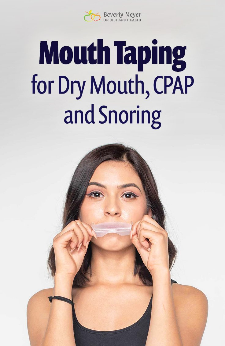 Young woman demonstrates mouth taping for dry mouth or CPAP use