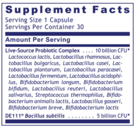 Premier Research Labs Microbiome 18 ingredients label