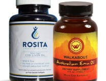 A bottle of Cod Liver gelcaps and a bottle of Walkabout Emu Oil Liquid 4 oz