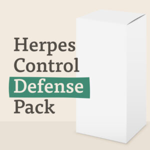 A white box labelled Herpes Control Defense Pack