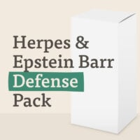 A white box labelled Herpes & Epstein Barr Defense Pack will contain suppelements for support