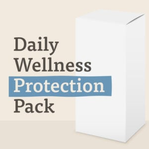 A white box is labelled Daily Wellness Protection Pack