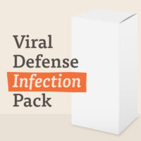 A white box with a label saying viral defense infection pack suggesting contents inside the box