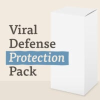A plain white box hints at the contents of the viral defense protection supplements inside