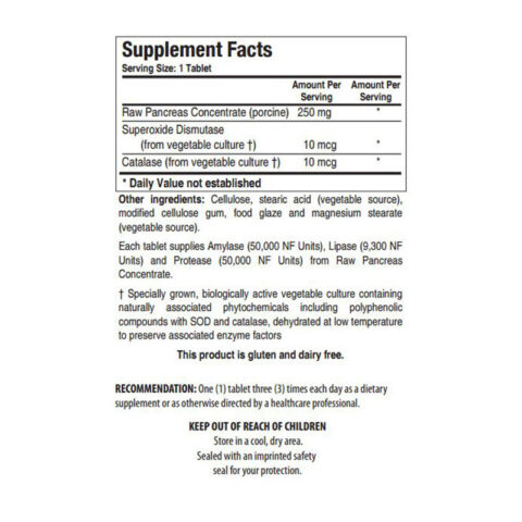 Back label of ingredients of Biotics Research Bio 6 Plus