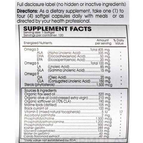 The ingredient label of Perque Triple EFA Guard