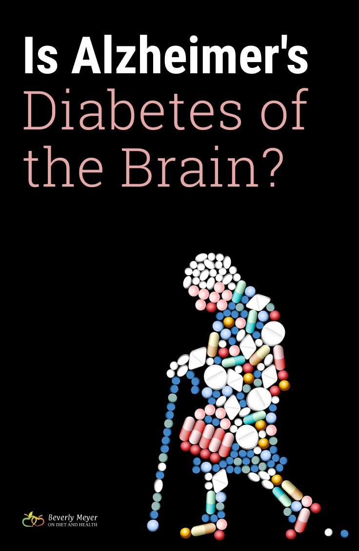 Elderly woman walking image made of pills, with question is alzheimer's diabetes of the brain?