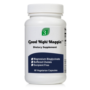 a bottle of good night maggie magnesium capsules