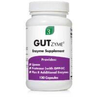 A bottle of GutZyme enzyme enzyme supplement