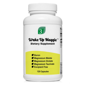 A bottle of Wake Up Maggie Magnesium Blend supplement