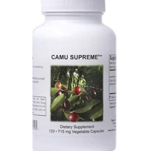 A bottle of Supreme Nutrition Camu capsules