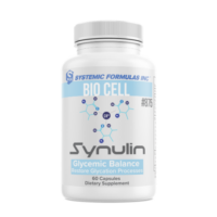 A bottle of Synulin Glycemic Balancer by Systemic Formulas