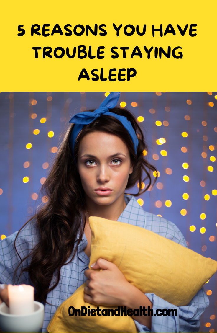 Pin showing a woman holding a yellow pillow after waking up in the night